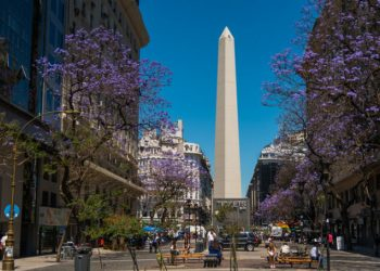 Buenos Aires, Argentina - December 2, 2015: The Obelisk (El Obelisco), the most recognized landmark in the capital in Buenos Aires, Argentina. People can be seen on foreground.