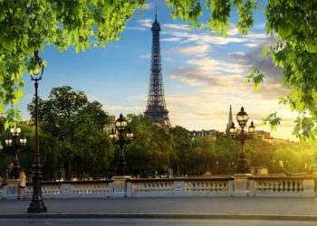 View on Eiffel Tower from Pont Alexandre III in Paris, France