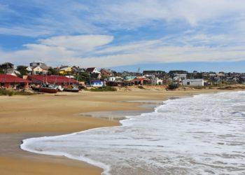 Uruguay, Rocha Department, Punta del Diablo, View of the Fisherman's Beach Los Botes.