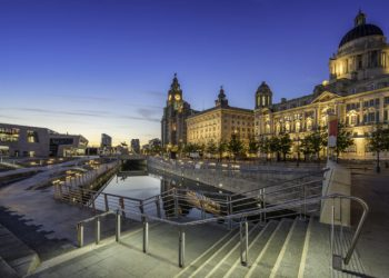 The Liver building next to the Port Authority and the Cunard Building on Pier Head