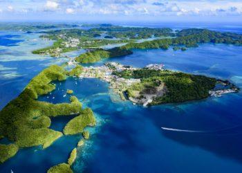 Full view of Palau Malakal Island and Koror - World heritage site -